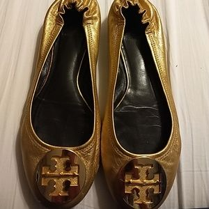 TORY BURCH REVA GOLD LEATHER BALLET FLATS SIZE 8